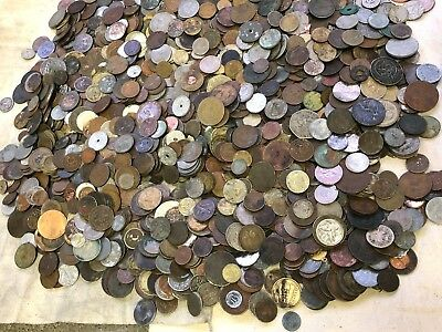 Massive 20 lbs Lot of Damaged & Cull  FOREIGN / World Coins & US tokens WYSIWYG