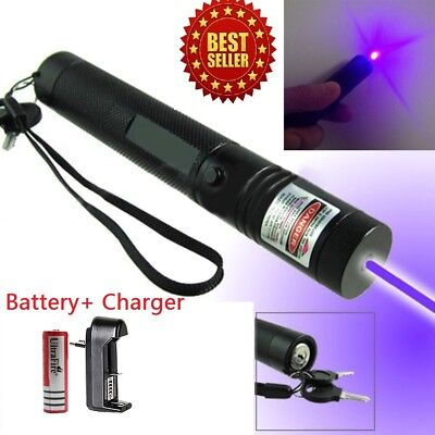 High Power Blue Purple Laser Pointer Pen 5mw 405nm Beam Lazer Burning Military