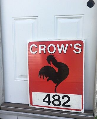 Vtg Original Crow Seed Corn Feed Field Farm Ag Sign Gas Oil Rooster Cock Chicken