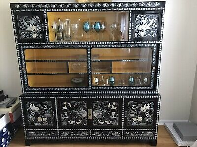 Black lacquer Korean China Cabinet and Vanity  with mother of pearl inlay