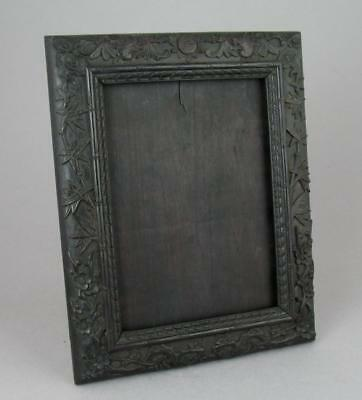 Antique Chinese Relief Carved Wooden Photo Picture Frame Bats Lu Blossom 29cm