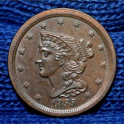 1855 HALF CENT**AU ++ **Nice Brown with hints of Luster