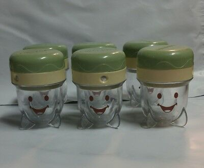 Baby Bullet Date Dial Storage Cups Lot Of 6 Re[acement Food Jars Without Tray