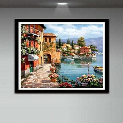 Full Drill DIY 5D Diamond Painting Town Embroidery Cross Stitch Kit Available