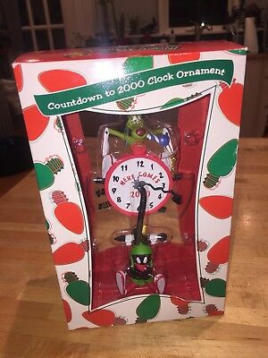 1999 Marvin The Martian Countdown To 2000 Clock Christmas Ornament Mib