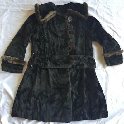 Antique Edwardian 1900s Girl's Black Crushed Velvet Coat