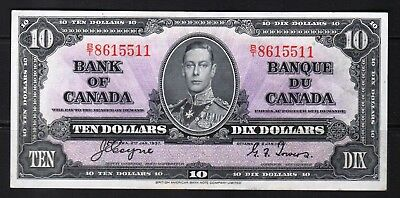 "Canada - 1937 Bank of Canada 10 Dollar Banknote P61c XF/aXF+ ""KIng George VI"""