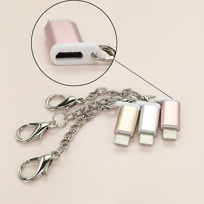 Micro USB to Lightning Charger For iPhone 6 7 8 with Keychain Adapter Converter