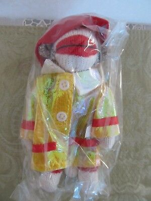 New Midwest CBK Fireman Sock Monkey Hanging Ornament ~ sealed in plastic