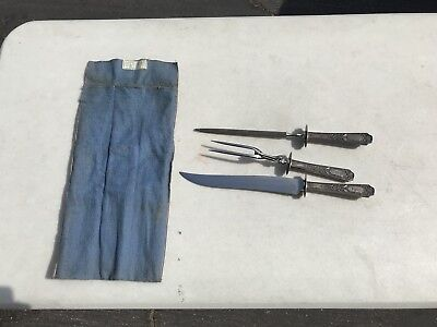 Vintage Antique Carving Set By John Wanamaker Jewelers & SilverSmiths! Free Ship