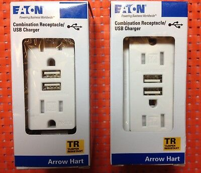 (TWO)- Eaton  TR7755W Combination Receptacle/USB Charger 15A 125V *NIB*