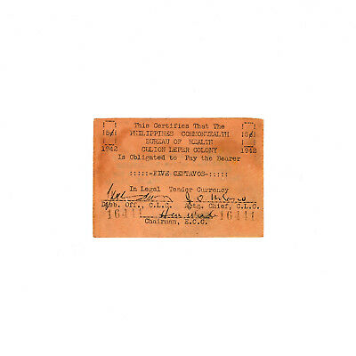 Philippines 1942 Culion Leper Colony 5 Centavos P-S252 xf -foxing brown staining