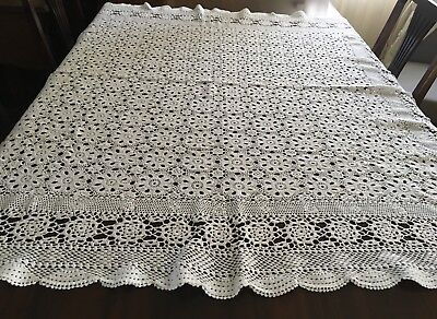 CROCHET White, Square Tablecloth 128x128cm & 6 Doilies - Lovely Con