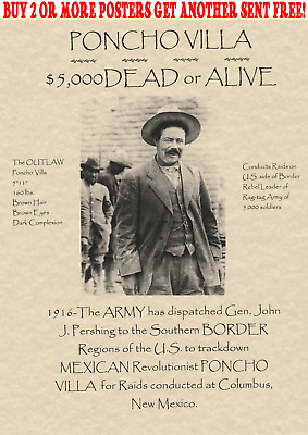 Wanted Poster Old West Mexico Pancho Poncho Villa Outlaw Army Border Bank Rob