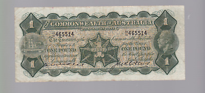 1926 Commonwealth Australia George V Kell Collins One Pound Banknote H-61 W-379