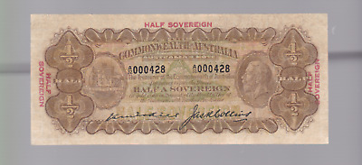 1926 Kell Collins Half Sovereign Ten Shillings Banknote A-32 W-377