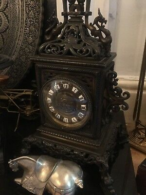 Antique French Mantle Clock In Bronze 8days movement working