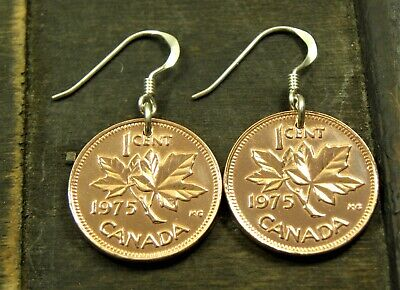 Maple Leaf Coin Earrings - 1 Cent - Canada with sterling silver hooks