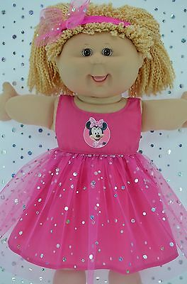 "Play n Wear Doll Clothes For 16"" Cabbage Patch  HOT PINK SEQUIN DRESS~HEADBAND"