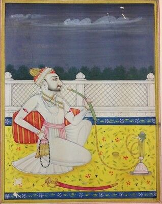 "11""x 7"" Antique Mughal King Scene Matted Painting Old Leaf Paper 515"