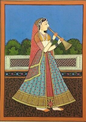 "11""x 7"" Vintage Mughal Lady Singing Scene Matted Painting Old Leaf Paper 516"