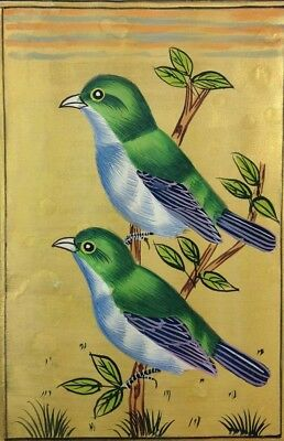 "11"" x 7"" Vintage Bird Scene Matted Painting Old Urdu Leaf Paper 523"