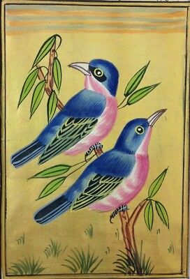 "11"" x 7"" Vintage Beautiful Bird Scene Matted Painting Old Urdu Leaf Paper 525"