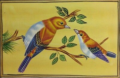 "7"" x 11"" Vintage Bird Scene Matted Painting Old Urdu Leaf Paper 527"