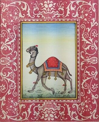 """11"""" x 7"""" Beautiful Camel Scene Matted Painting Old Leaf Paper 533"""