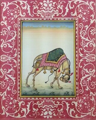 "11"" x 7"" Beautiful Camel Scene Matted Painting Old Leaf Paper 537"
