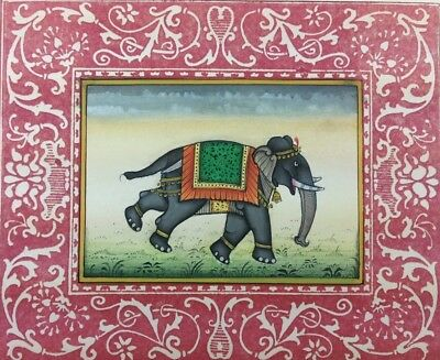 "7"" x 11"" Antique Elephant Scene Matted Painting Old Leaf Paper 538"