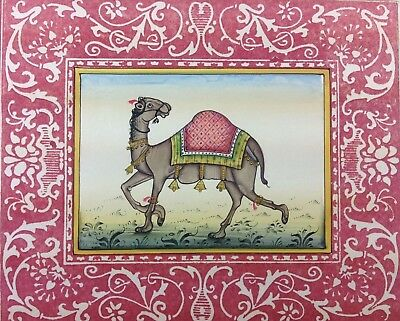 "7"" x 11"" Beautiful Camel Scene Matted Painting Old Leaf Paper 539"