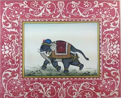 "7"" x 11"" Beautiful Elephant Scene Matted Painting Old Leaf Paper 540"