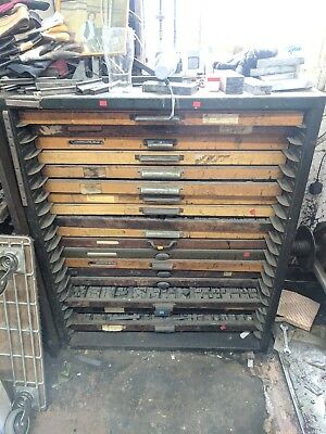 Printing / Letterpress Type Trays and shelving unit