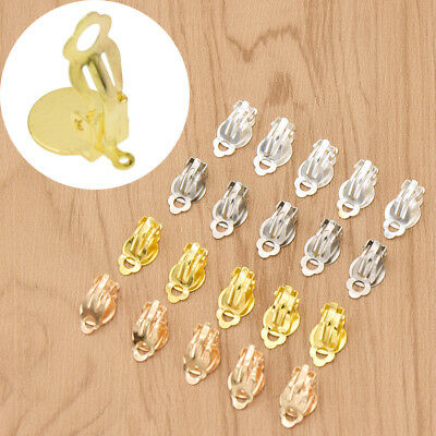 50pcs Gold Silver Clip On Earring Jewelry Making Findings Backing DIY Handcraft