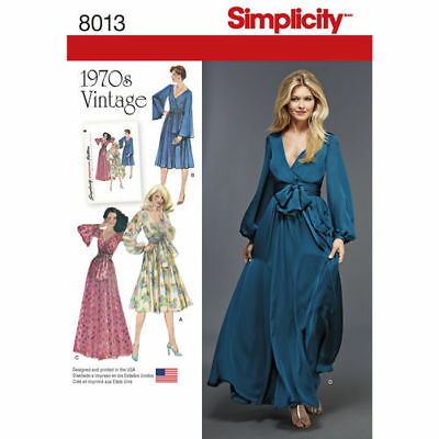 Simplicity Sewing Pattern 8013 Womens 14-22 Faux Wrap Dresses Vintage 1970s
