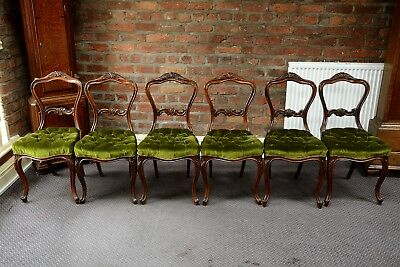 Victorian Rosewood Balloon Back Dining Chairs Set of Six