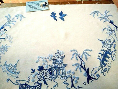 Glorious Vintage Blue Willow   ~ Hand Embroidered large Picture/Panel