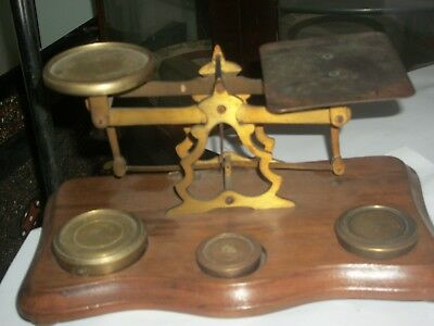 Antique Wood & Brass Postal Scales,,,,,,,,,,,,,,,,