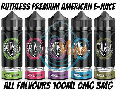 120 ML E Juice Ruthless E-Liquid Red Gold 0mg 3mg USA E-Juice Sub Ohm  American