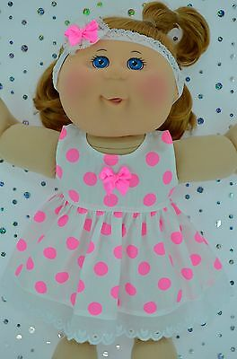 "PlaynWear Doll Clothes For 14"" Cabbage Patch FLURO PINK POLKA DOT DRESS~HEADBAND"