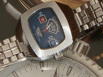 Sicura Breitling Swiss Disc jump hour early Digital watch retro vintage 60s
