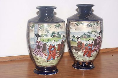 A Pair Of Japanese Hand Painted Satsuma Vases