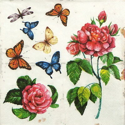 4x Paper Napkins for Decoupage Craft Butterfly Garden