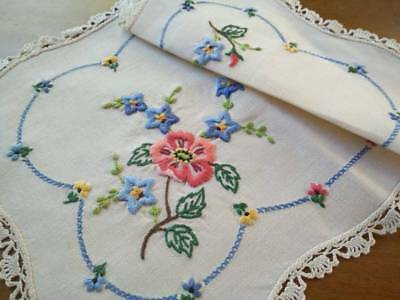Charming Flower Posies ~ Vintage Heavily Hand Embroidered Centrepiece