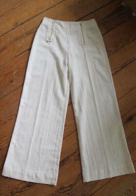 Vintage Pants Trousers Hip 1970s Women's Wide-Leg Ivory Linen-Look Double Zipper