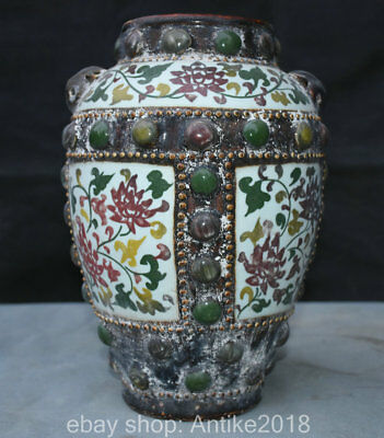 """12"""" Collect Marked Old Chinese Wu Cai Porcelain Dynasty Flower Pot Jar Crock"""