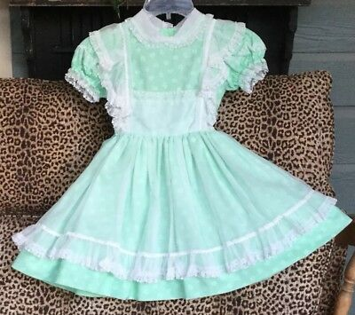 Vintage Girls Betty Oden Multi-Layer Ruffles And Lace Mint Green Party Dress 6X