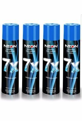 NEON BUTANE GAS 300ml 7X REFINED FILTERED LIGHTER REFILL FUEL FLUID (4 CANS)