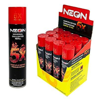 12 cans Neon 5x Butane Fuel Lighter Fluid Refill Power Ultra Refined 5 Times